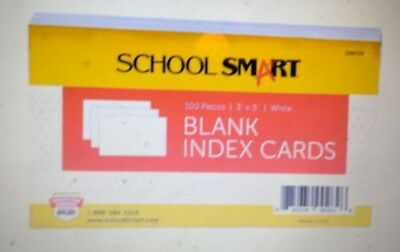 School Smart Blank 90# Plain Index Card, 3 x 5 Inches, White, Pack of 100