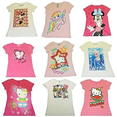 Girls' T-Shirts Frozen Hello Kitty Monster High Minnie Mouse My Little Pony NWT
