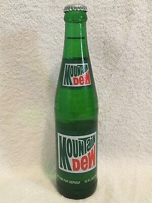 "FULL 10oz MOUNTAIN DEW ""GRASS LABEL"" ACL SODA BOTTLE"