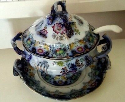 1845 Antique Collectors Porcelain Soup Tureen Cleopatra Blue Design 10 Inches