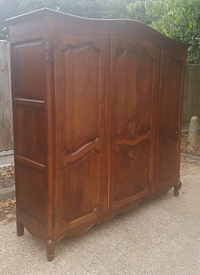 Louis XV Style Vintage French Carved oak 3 door Armoire Wardrobe