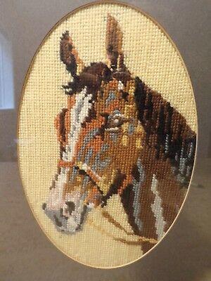 Vintage Detailed Needlepoint Horse Head With Tack -  Framed 268