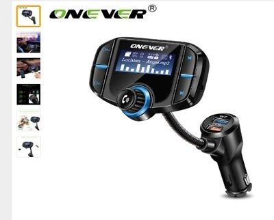 Onever FM Transmitter Bluetooth FM Modulator 2 Port Quick Charge 3.0 Charger Han