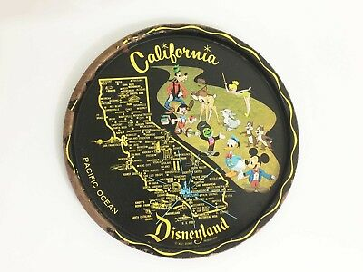Vintage California Map Disneyland Metal Tray - Walt Disney Productions