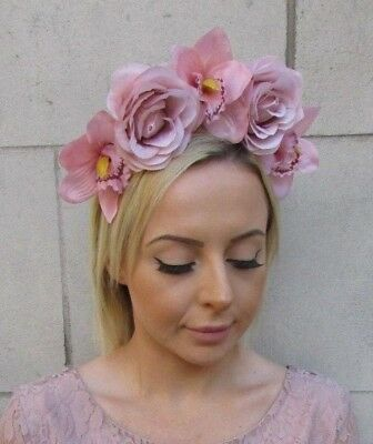 Blush Nude Pink Orchid Rose Flower Fascinator Headpiece Headband Races Hair 5998