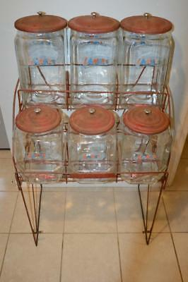 Vintage Lance 6 Jar Country Rack Store Display~Amazing Set Jars And Rack