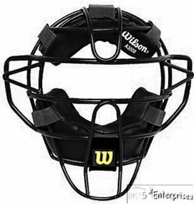 Wilson Dyna-Lite Steel Umpire Facemask w/ Black Leather/PU Pads