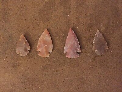 """Lot Of 4  Steeply Beveled  Authentic Arrowheads 1.25"""""""