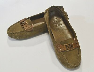 691dcfa63df Tory Burch Tan Suede Driving Loafers Flat Moccasins Gold Hardware Womens Sz  7M