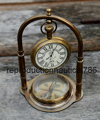 Handmade Antique Brass Desktop Working Clock With Compass Nautical Decorative