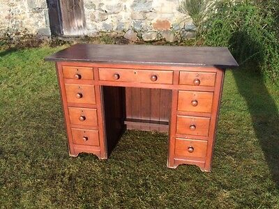 Antique Pitch Pine Twin Pedestal Desk