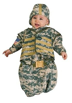 Infant Newborn SOLDIER Costume Baby ARMY MILITARY Green Camo Camouflage Kids NEW
