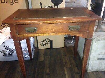 Antique Vintage Victorian Oak Mahogany Leather Top Writing Desk Table needs tlc