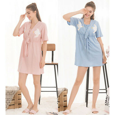 Nursing Breastfeeding Dress V-neck Twins Birds Homewear Nightwear Cute Comfy M/L