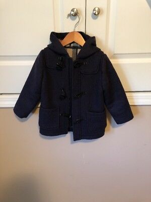 Burberry Boys Wool Coat In Navy In Size 3