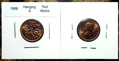 Canada 1958 Small Cent *Hanging 8 with Tool Marks* BU Red UNC Penny!!