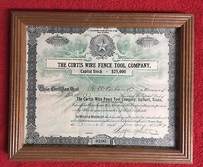 1907 Zenas Curtis Wire Fence Tool Company Stock Certificate, Dalhart, Texas