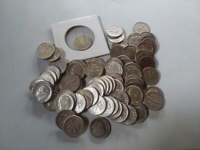 Lot of 80 Silver Roosevelt Dimes  1964 & Earlier All are Sliver