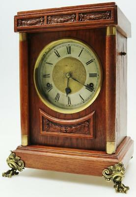 Impressive 8 Day Antique Carved Mahogany Westminster Chime Mantle Bracket Clock