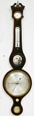 Stunning Antique Inlaid Rosewood Banjo Case English Wall Thermometer Barometer