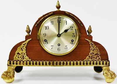Antique Oak Westminster/Whittington Striking Napoleon Hat Shape Mantel Clock
