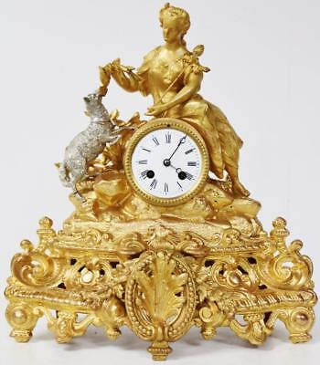 Original 8Day Antique French Lady Figural Group Gilt Metal Striking Mantel Clock