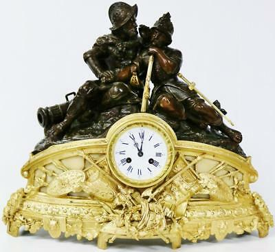 Spectacular Antique French 8 day Gilt Metal Figural Bell Striking Mantel Clock