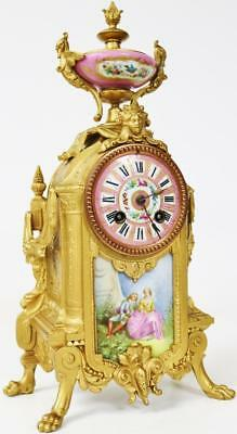 Superb Antique French Gilt Metal & Pink Sevres Bell Striking Mantle Clock 8 Day