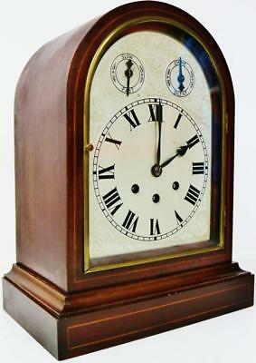 Antique 8Day Musical Westminster Chime Silver Dial Arch Top Mantle Bracket Clock