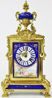 Stunning French Antique Ormolu Bronze Blue Sevres 8 Day Striking Mantel Clock