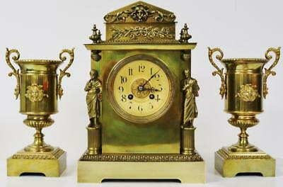 Antique French Cubed Bronze Ormolu 8 day Striking Mantel Clock Garniature Set