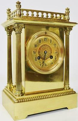 Fine Antique French Ormolu Cubed Bronze 8 day Gong Striking Mantel Clock - C1870