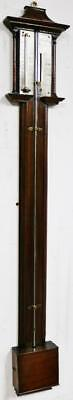 Beautiful Georgian Carved Rosewood Stick Barometer & Thermometer Fully Working