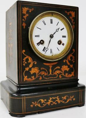 Lovely Antique Officers Inlaid Ebonised Wood Bell 8 Day Striking Mantel Clock