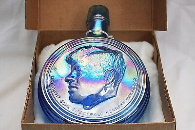 Vintage John F Kennedy First Edition Blue Carnival Wheaton Glass Bottle & Box
