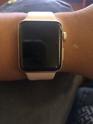 APPLE WATCH SERIES 3 38mm Gold Aluminium Case with Pink Sand Sport Band  (GPS