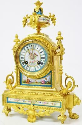 French Antique Bennet Ormolu Bronze Blue Sevres 8 Day Striking Mantel Clock