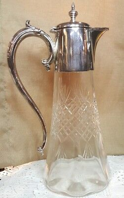 Antique Blown and Cut Crystal Glass Silver Tall Wine Claret Jeg Pitcher Decanter