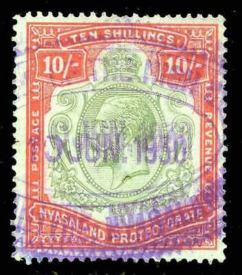Nyasaland Protectorate - KGV 10/- (1921) Used Fiscally (Sc#37)