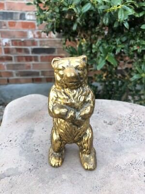 Vintage Brass Grizzly Bear Coin Bank - Made In Canada - Grizzly Bear Piggy Bank