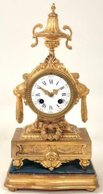 Original Antique French Gilt Spelter 8 Day Striking Mantle Clock C1870n On Base