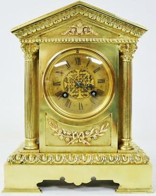 Antique French Architectural Bronze Ormolu 8 day Mantel Clock Striking - S Marti