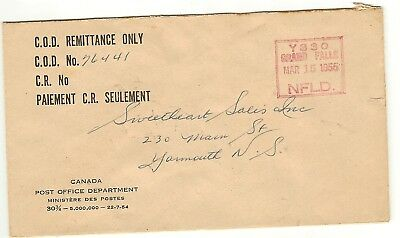 C. O. D. Remittance Only Cover - 1955 - Grand Falls Newfoundland Cancel