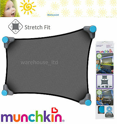 Munchkin Stretch to fit Car Sun Shade Push Lock Suction Mesh Fabric Sun Shade