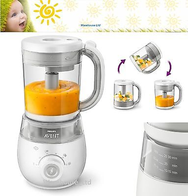 Philips Avent 4-in-1 Healthy Baby Food Maker Steam Blender Defrost Reheat Meals