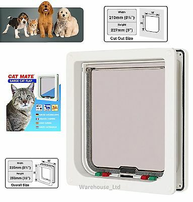Cat Mate Large Med Small 4 Way Locking Cat Flap Pet Mate - 221 235 White Brown