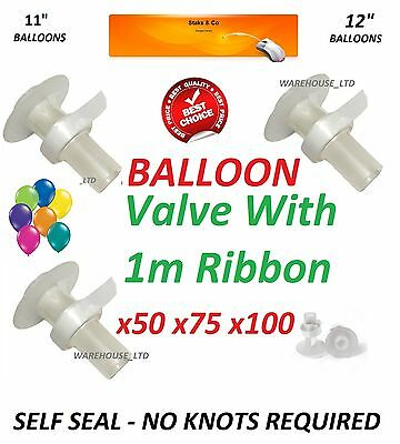 Helium Balloon Valves Self Seal Helium Balloons With 1M Ribbon X50 X75 X100