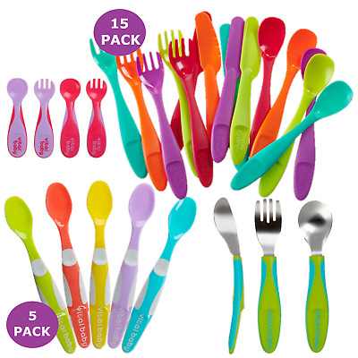 Tuff N Tumble Pack Of 5 Plastic Coloured Weaning Spoons For Baby/'s First Solids