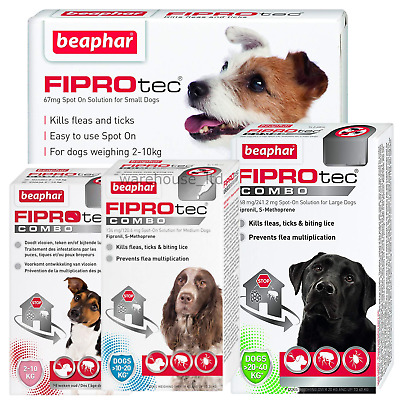 BEAPHAR FIPROtec SPOT ON FLEA TICK TREATMENT Solution S M L XL Dog/Cat Fipronil
