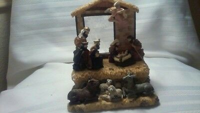 Christmas Nativity Figurine Manger Scene w /Music Lights Sound Activated